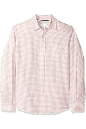 Amazon Camisa de lino con manga larga, corte entallado y estampado para hombre