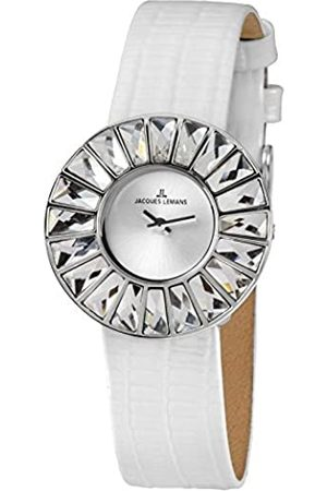 Jacques Lemans Flora - Reloj analógico de mujer de cuarzo con correa de piel blanca