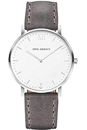 Paul Hewitt Reloj de Pulsera en Acero Inoxidable Sailor White Sand (para Mujeres y Hombres) - Reloj con Correa de Cuero Gris, Reloj de muñeca