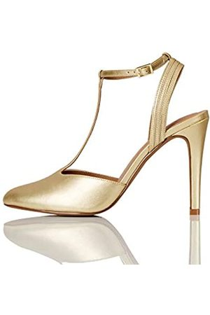 FIND Marca Amazon - FIND Stiletto Round Toe T-Bar Zapatos de Tacón, (Mirror Gold)