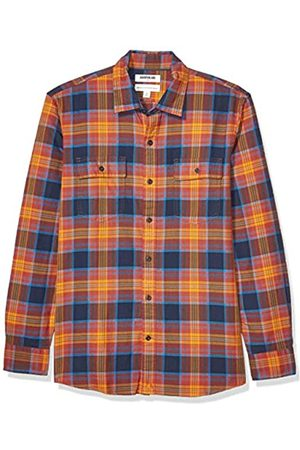 Goodthreads Standard-fit Long-Sleeve Plaid Twill Shirt Button-Down-Shirts, (Navy Orange)