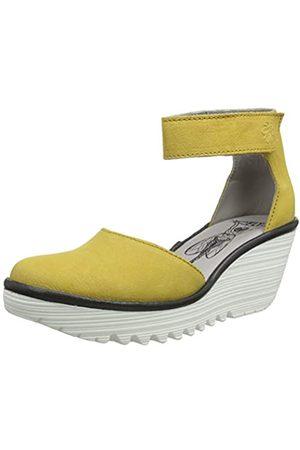 Fly London Yand709fly, Zapatos con Tacon y Correa de Tobillo para Mujer, (Bumblebee (White Sole) 008)