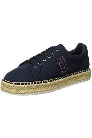 Tommy Hilfiger Nautical TH Lace Up Espadrille, Zapatos de tacón con Punta Abierta para Mujer, (Desert Sky Dw5)