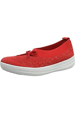 FitFlop Uberknit Ballerina with Bow, Bailarinas con Punta Cerrada para Mujer, (Ss20 High Risk Red 002)