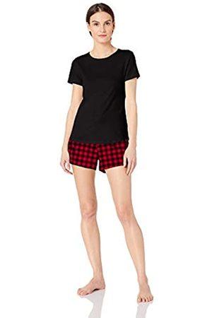 Amazon Conjunto de pantalón corto de franela ligera y camiseta de algodón para mujer