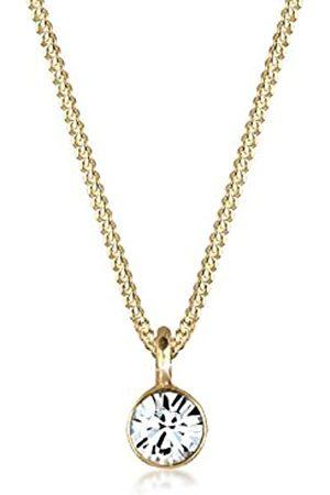 Elli Collar Colgante Solitario con cistales Swarovskien plata de ley 925 bañada en oro
