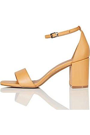 FIND Marca Amazon - #_ Gafur-1A Zapatos con Tacon y Correa de Tobillo, (Tan)