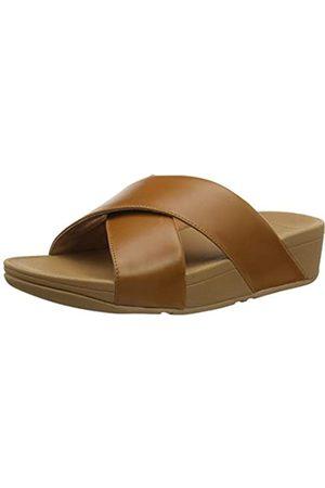 FitFlop Lulu Cross Slide-Leather, Sandalias de Punta Descubierta para Mujer