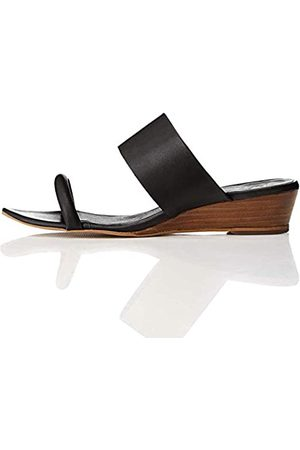 FIND Wide Band Mule Sandalias con Punta Abierta, Black