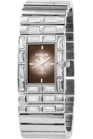 Excellanc 152021000039 - Reloj analógico de mujer de cuarzo con correa de aleación plateada