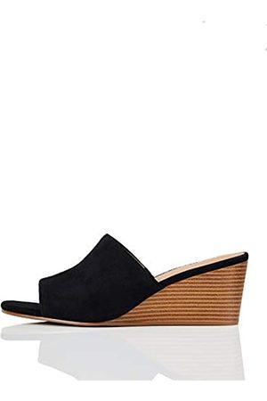 FIND Marca Amazon - Mule Wedge Leather Zapatos de tacón con Punta Abierta, (Caramel)