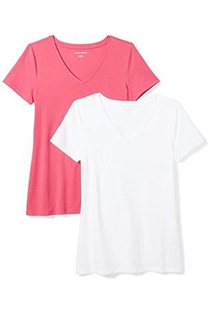 Amazon 2-Pack Short-Sleeve V-Neck Solid T-Shirt Camiseta, Bright Pink/White