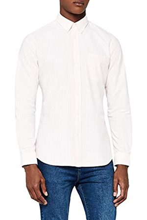 MERAKI Cotton Slim Fit Oxford Stripe Camisa casual Pink)