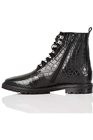FIND Marca Amazon - Lace Up Leather Croc Biker Botines, Black