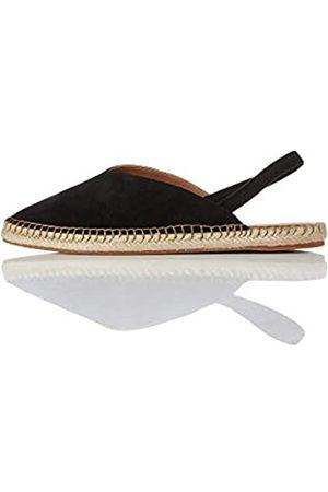 FIND Slingback Leather Espadrille Sandalias de Talón Abierto, Black