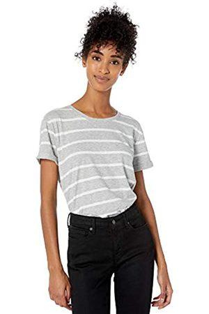 Goodthreads Washed Jersey Cotton Roll-Sleeve Open Crewneck T-Shirt fashion-t-shirts, Heather Grey Stripe