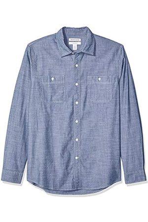 Amazon Camisa de cambray con manga larga y corte entallado para hombre
