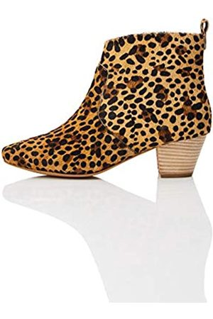 FIND Leather Casual Western Botines, Leopard