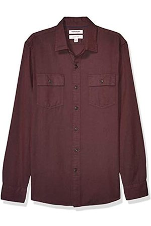 Goodthreads Slim-Fit Long-Sleeve Plaid Herringbone Shirt Button-Down-Shirts, Burgundy