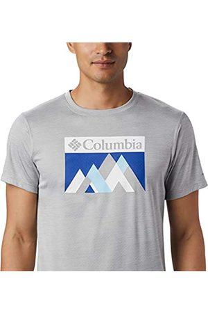 Columbia Zero Rules Camisa Técnica De Manga Corta con Estampado, Hombre, Grey Heather Peak Fun