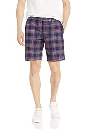 Goodthreads – Pantalón corto de lino elástico con tiro de 22,8 cm para hombre, Denim Red Check