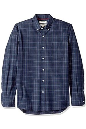 Goodthreads Marca Amazon – – Camisa de popelín a cuadros de manga larga de corte estándar y cuello con botones para hombre