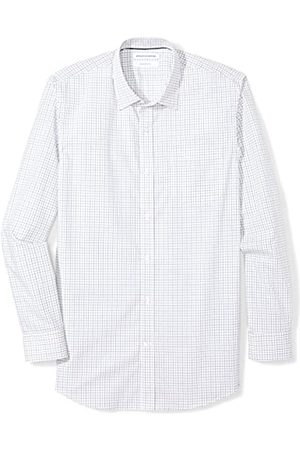 Amazon Slim-fit Wrinkle-Resistant Long-Sleeve Plaid Dress Shirt Camisa, (Blue Tattersall