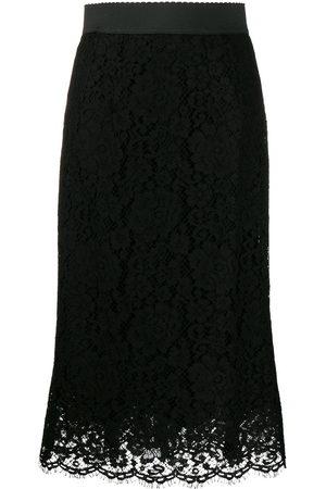 Dolce & Gabbana Falda midi con encaje floral