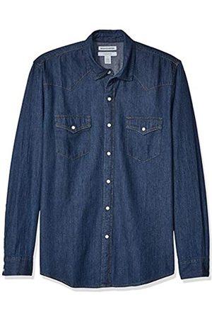 Amazon Camisa de mezclilla ajustada y de manga larga para hombre