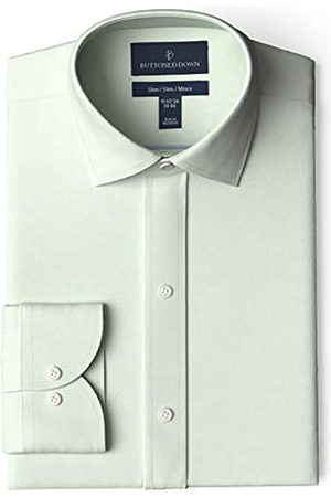 Buttoned Down Marca Amazon - Camisa de Vestir Ajustada con Cuello esparcido Pinpoint sin Planchar. dress-shirts