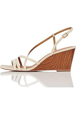 FIND Marca Amazon - #_ OLIVIA-1A-2 Zapatos con Tacon y Correa de Tobillo, ( Linen)