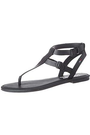 Tommy Hilfiger Tommy Jeans Flat Sandal, Sandalias Punta Cerrada para Mujer, (Black Bds)