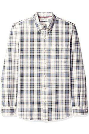 Goodthreads Marca Amazon – – Camisa de manga larga de corte entallado de cambray y raya diplomática para hombre