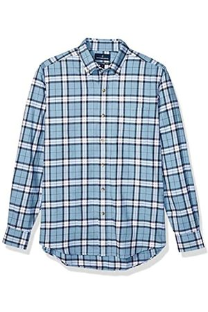 Buttoned Down Tailored Fit Supima Cotton Brushed Twill Plaid Sport Shirt Button-Down-Shirts, Heather Blue