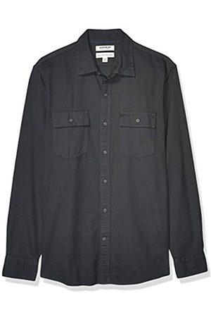 Goodthreads Standard-Fit Long-Sleeve Plaid Herringbone Shirt button-down-shirts, Oscuro (Dark Grey)