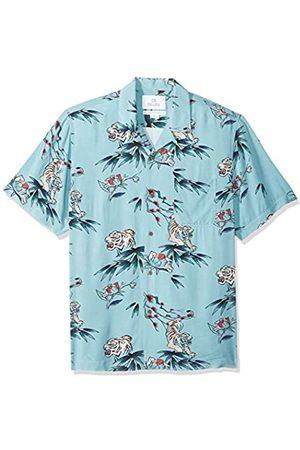 28 Palms Marca Amazon - - Camisa vintage de rayón 100 % lavado y con corte estándar para hombre, diseño tropical hawaiano