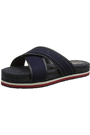 Tommy Hilfiger Colorful Tommy Flat Sandal, Sandalias con Punta Abierta para Mujer, (Midnight 403)