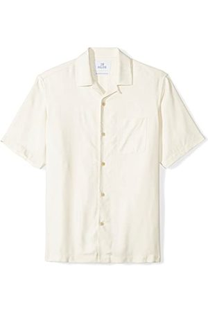 28 Palms Marca Amazon - Relaxed-Fit Short-Sleeve 100% Silk Solid Camp Shirt button-down-shirts