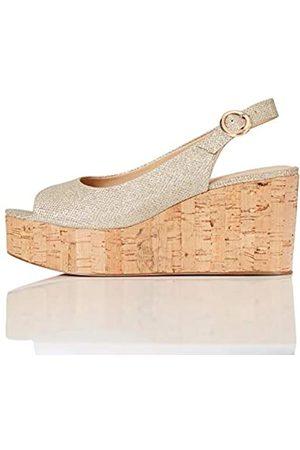 FIND FIND Cork Peep Toe Sling Back Wedge Zapatos de tacón con Punta Abierta, (Sparke Gold)