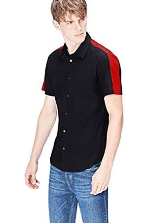 FIND Camisa de Manga Corta Slim Fit con Banda Deportiva para Hombre