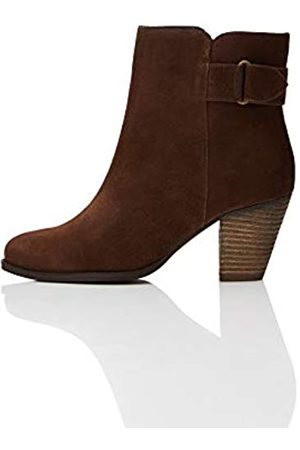 FIND Casual Ankle Leather Botas Chelsea, Brown