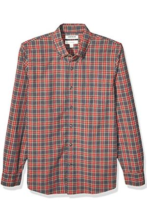 Goodthreads Slim-fit Long-Sleeve Plaid Oxford Shirt Camisa abotonada, Grey Red Stewart