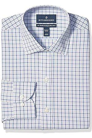 Buttoned Down Xtra-Slim Fit Pattern Non-Iron Dress Shirt Shirts, Grey/Blue Windowpane Check