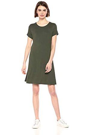 Amazon Vestido de manga corta holgado con cuello redondo para mujer