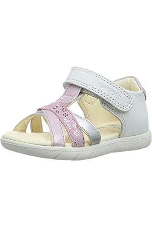 Geox B Sandal Alul Girl D, Sandalias de Punta Descubierta para Bebés, (White/Pink C0406)