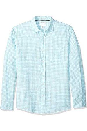 Amazon Camisa regular de lino a cuadros con manga larga para hombre, aguamarina (Aqua Gingham)