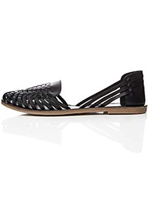FIND Leather Hurrache Sandalias Punta Cerrada, Black