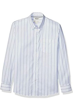 Goodthreads Standard-Fit Long-Sleeve Stretch Oxford Shirt (All Hours) button-down-shirts, White Bright Blue Triple Stripe