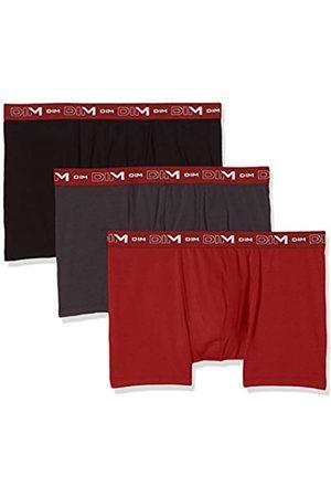 Dim Coton Stretch Boxer x3, Plomb/Noir/Rouge Chili
