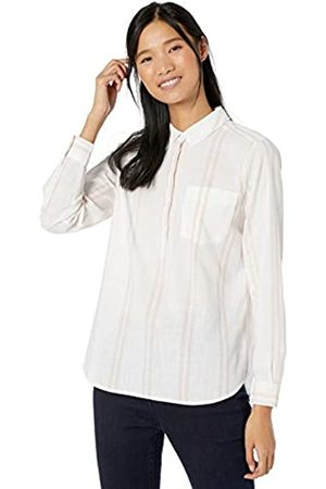Goodthreads Washed Cotton Popover Shirt Button-Down-Shirts, White/Cardinal Double Stripe